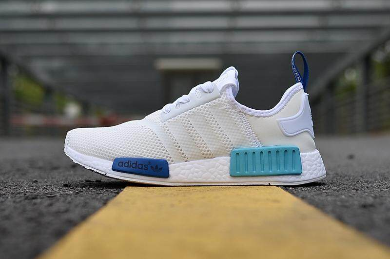 Adidas Men s Originals NMD Runner Primeknit Fashion Sneaker Running Shoes ( White Blue) 6e0811e60e
