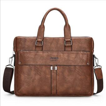 2017 new men's bag jeep leather shoulder bag hand frosted business bag leather computer bag factory outlet