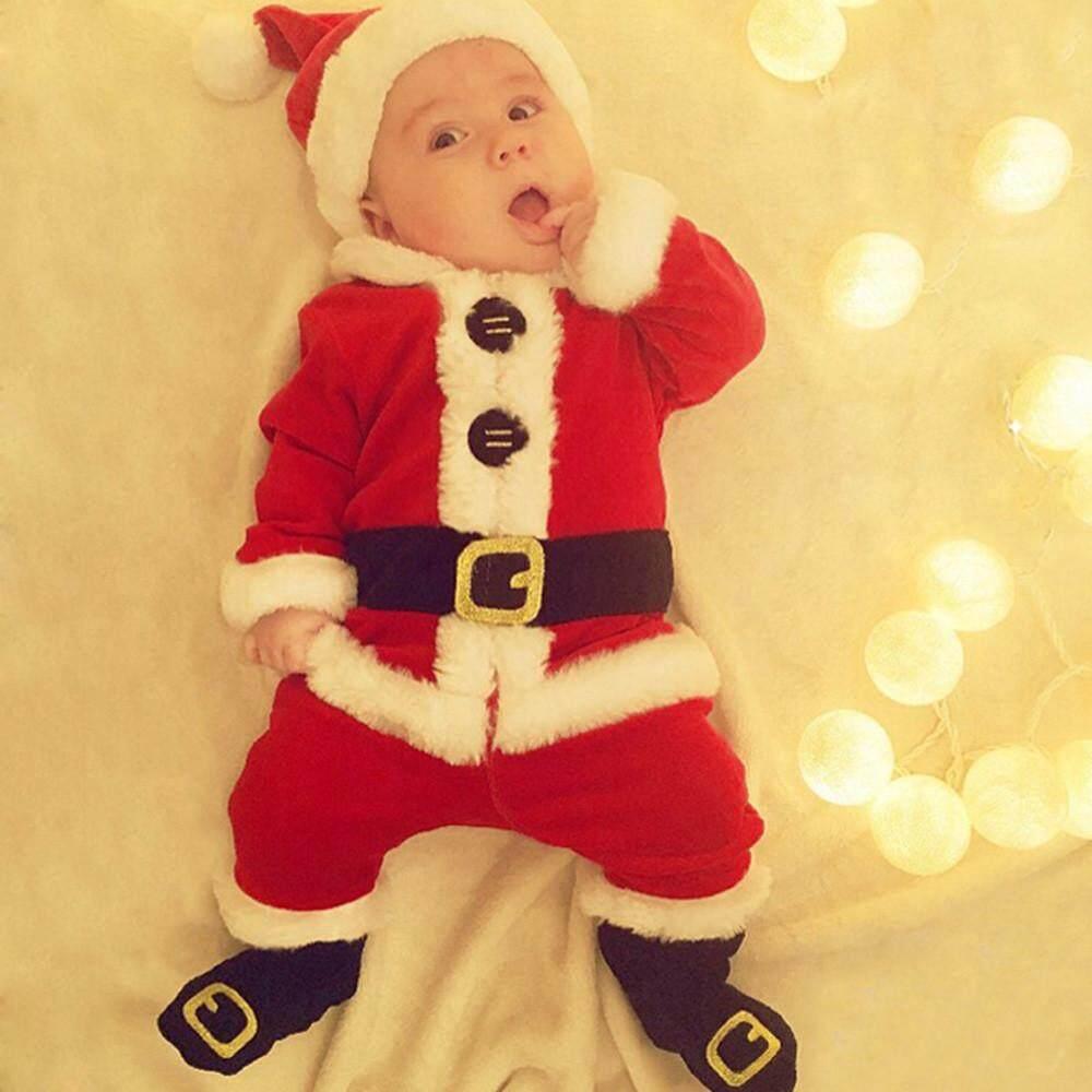 BEAUTY COME 4PCS Infant Baby Santa Christmas Tops+Pants+Hat+Socks Outfit Set Costume