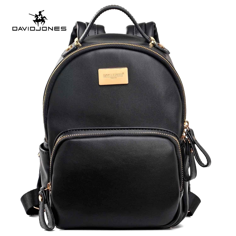 Product details of DAVIDJONES women backpack pu leather female shoulder bag  large lady plain back bag girl casual book bag original student designer  pouch ... 5a579c726b1a