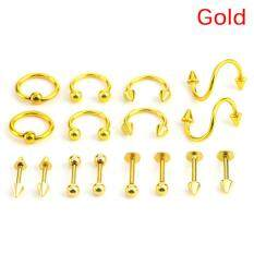 16pcs/Set Stainless Steel Spiral Belly Tongue Bar Ring Eyebrow Piercing Jewelry Women White