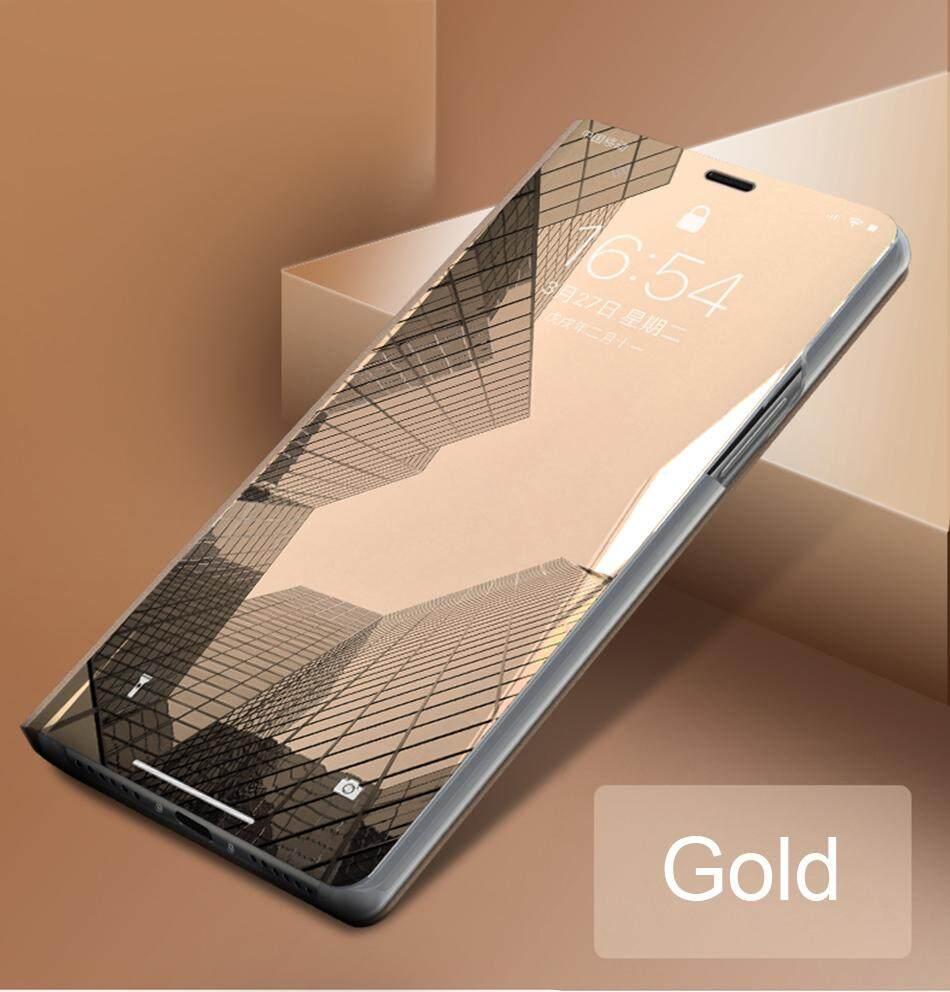 Mewah Casing Cermin Bening untuk OPPO A5S/A7 Penutup Kulit Flip Case untuk OPPO A5S/A7 Dudukan Ponsel Case Terbaik kualitas
