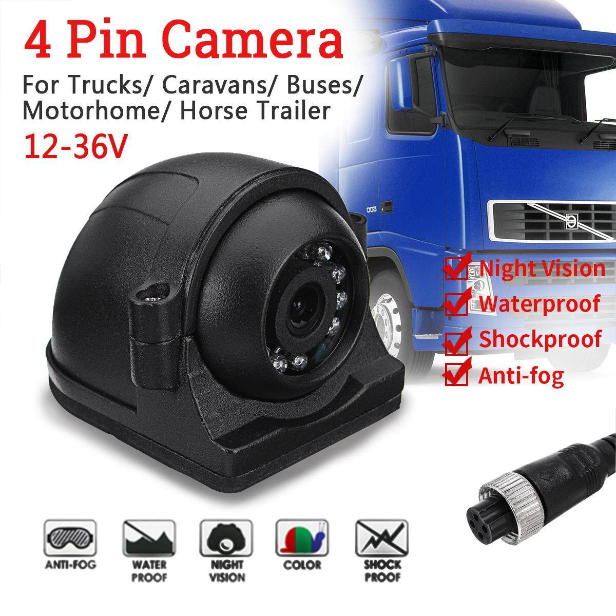 4 Pin Heavy Duty 12-24V CCD Side View Color Camera 12 IR LEDs IP68 For Truck Bus
