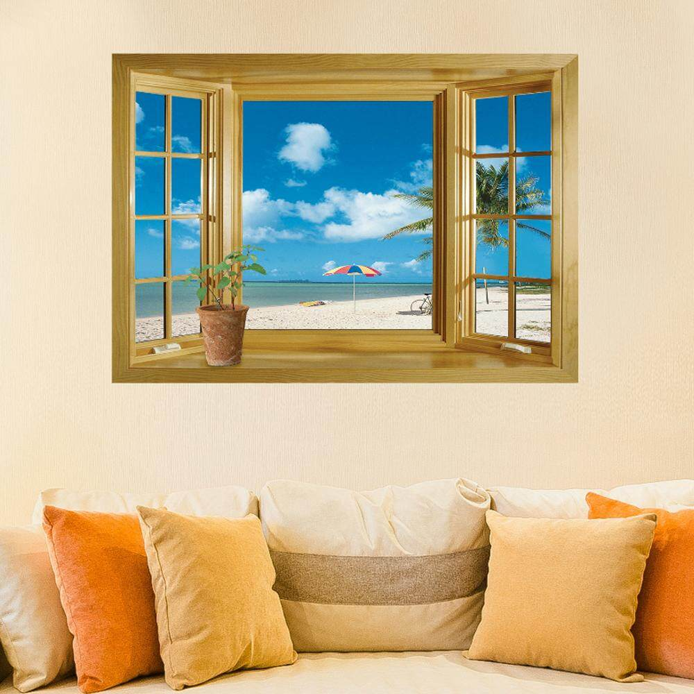 Beach Tree Window PVC Wall Decals DIY Home Sticker WallPaper Vinyl Wall arts Pictures Removable Murals For House Decoration Baby Living Rooms Bedroom Toilet