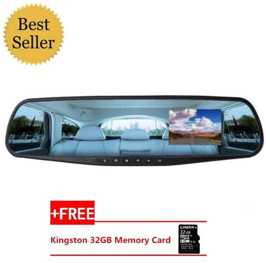 "FULL HD 3.4 ""LCD Single Lens Video Dash Cam Recorder Car Camera DVR Rearview Front Car DVR+FREE 32GB Memory Card"