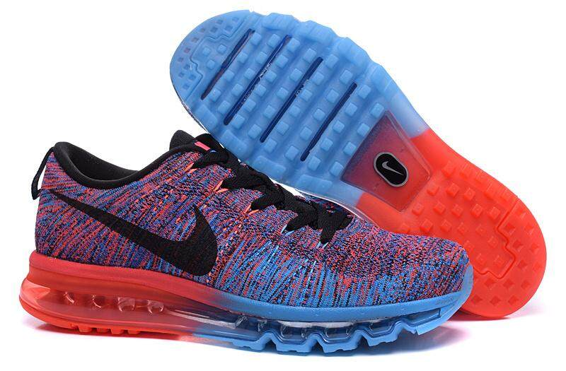 12969bc3b9ffe5 Nike Men s Flyknit Max Running Shoe Fashion Casual Sneakers (Red  Blue)