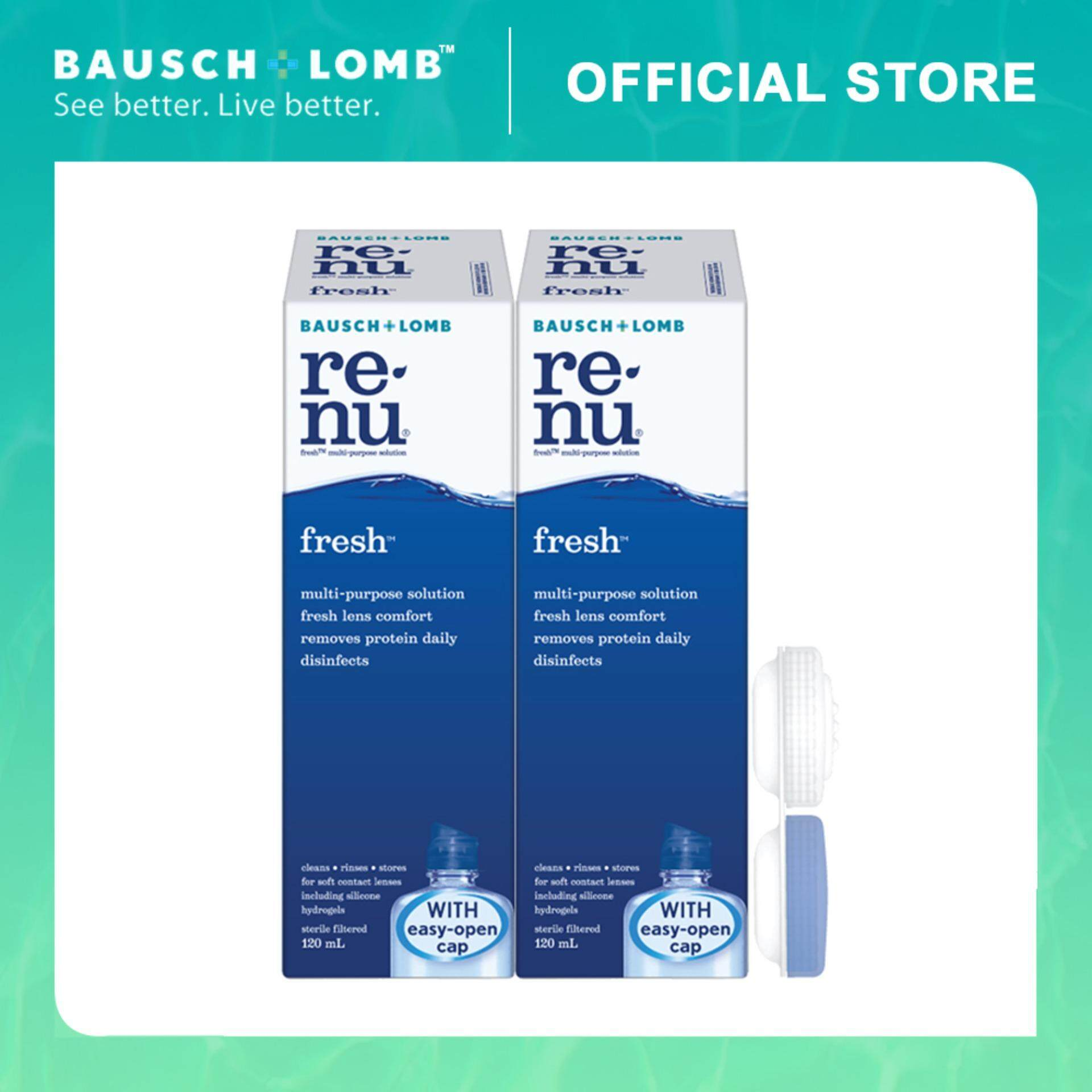 Bausch & Lomb Renu Fresh 120ml 2-Pack Combo Multi-Purpose Solution Travel Pack (2 Boxes)