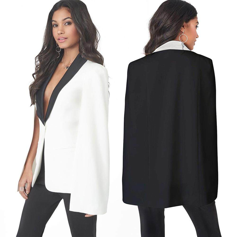 New Women Cape Cloak OL Jacket Sleeveless Irregular Hem Pockets Blazer Suit Coat - intl