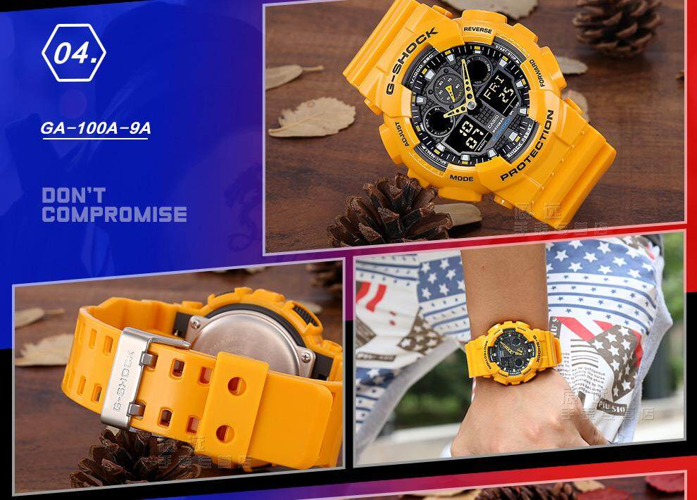 สมุทรสงคราม 【 STOCK】Original _ Casio_G-Shock GA-100 Duo W/เวลา 200M กันน้ำกันกระแทกและกันน้ำโลกนาฬิกากีฬาไฟแอลอีดีอัตโนมัติ Wist นาฬิกากีฬาสำหรับ MenGA-100A-9A สีเหลือง