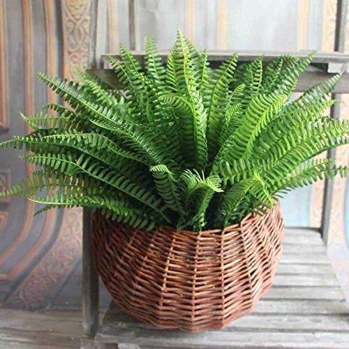 Hanging Artificial Boston Fern Basket Large Fake Green Plant Home Decor Office