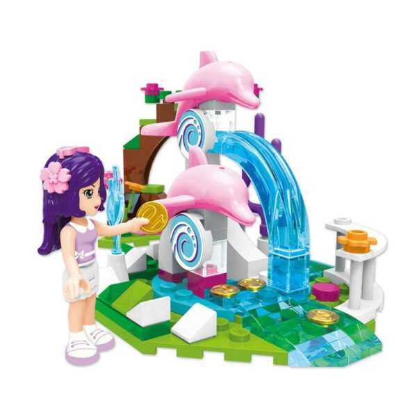 The enlightenment building 2002 dolphin wish pool children puzzle assembly of particle block model house girls play house toys.