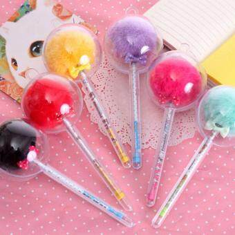 2Pcs Student Prizes Balls Plush Ballpoint Pen Ball-Point Pens School Supplies
