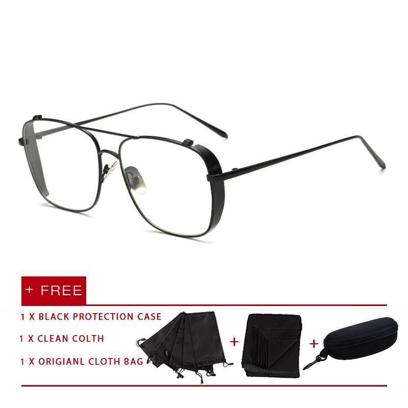 Promosi Harga 2019 Mode Terkini Pria Wanita Kacamata Kacamata Bingkai Logam Anti Cahaya Biru Kacamata UV Kacamata Lensa Kacamata Datar untuk Pria Wanita