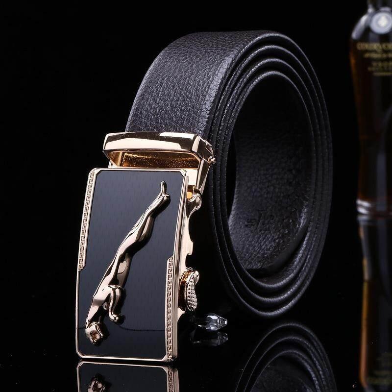 Men PU Mix Leather Belt Office Formal Casual Auto Lock Buckle Gold Leopard Design