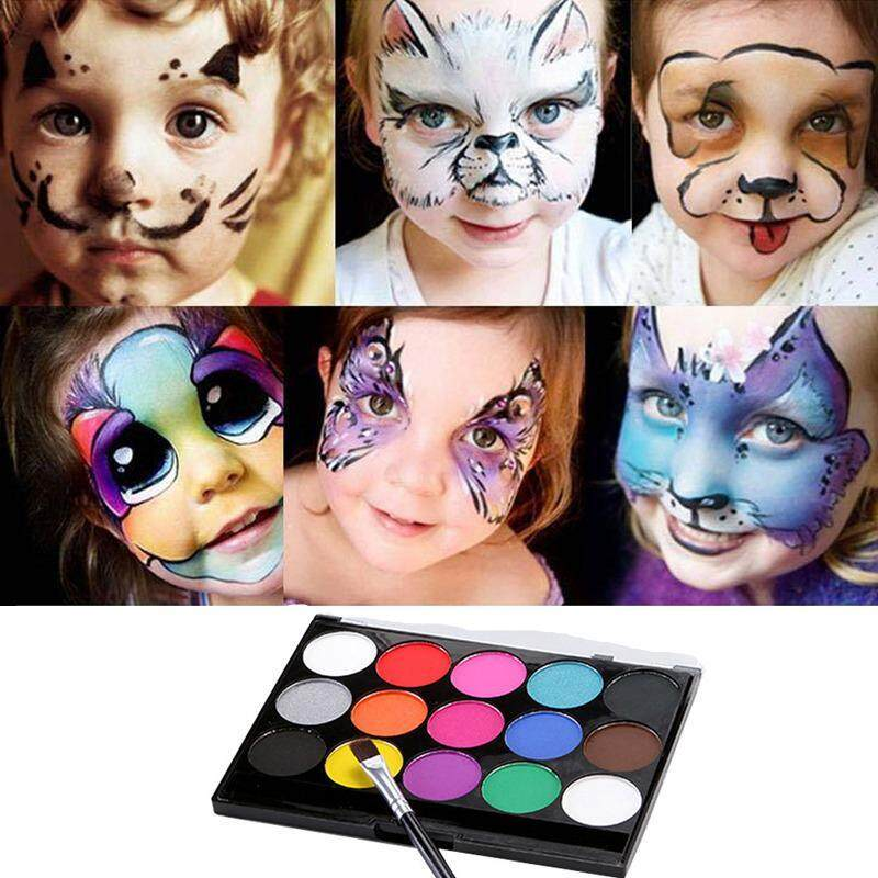 BuyInBulk 15 Colors Body and Face Paint Set and Palette Kit - Non-Toxic Water-Based Colors for Costumes, Parties, Theater, Special Effects, and Festivals
