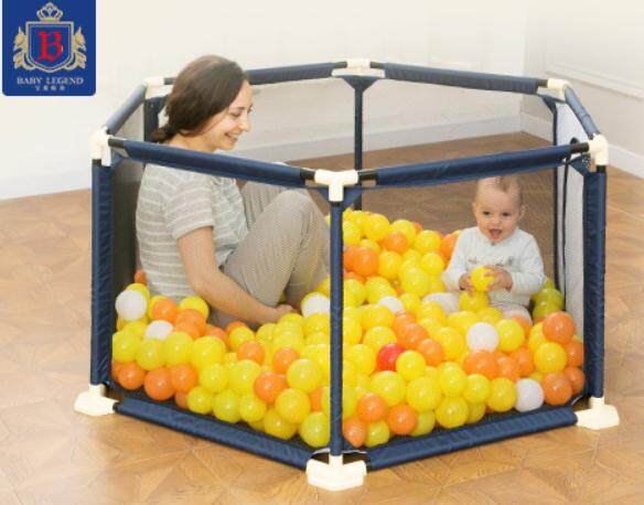 [FREE BALLS]150CM Stainless Steel Baby Portable Hexagon Baby Safety Play Fence Playyard Playpen (MyShop1st)