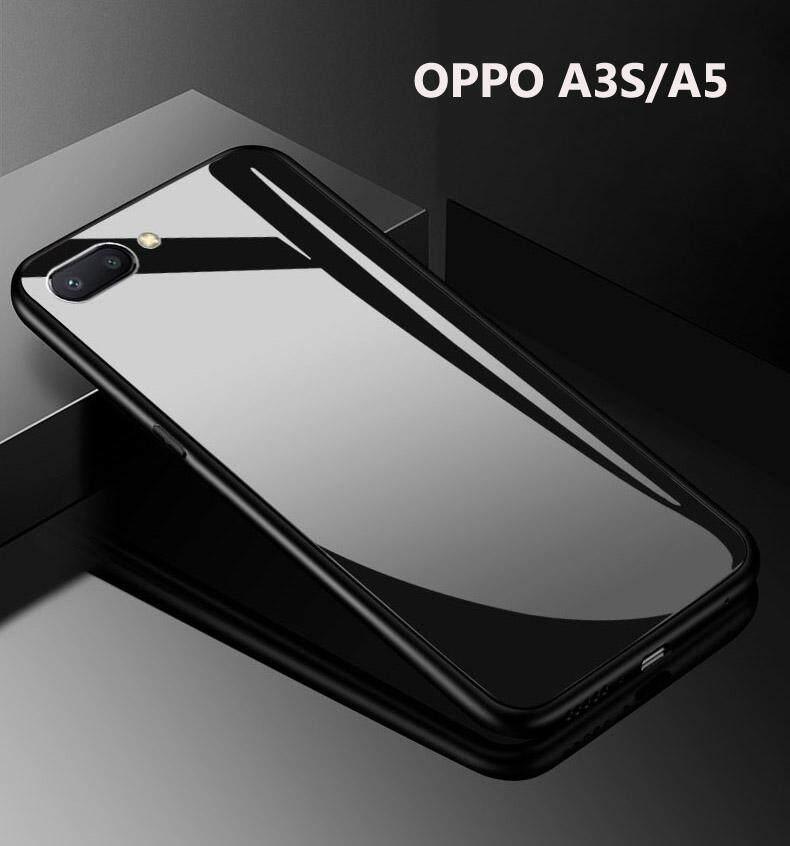 Dành cho Oppo A3s Ốp Lưng Cứng Kính Cường Lực TPU Tráng Gương Lai Chống Sốc Bảo Vệ Toàn Thân Bao