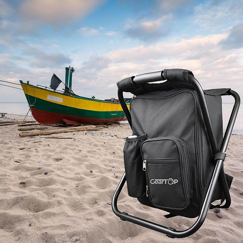 Camping Stool Backpack,Fishing Cooler Bag Beach Chair for Camping Fishing Picnics,Backpack Foldable Chair,Pink Hiking Tailgating Watching Sports Events