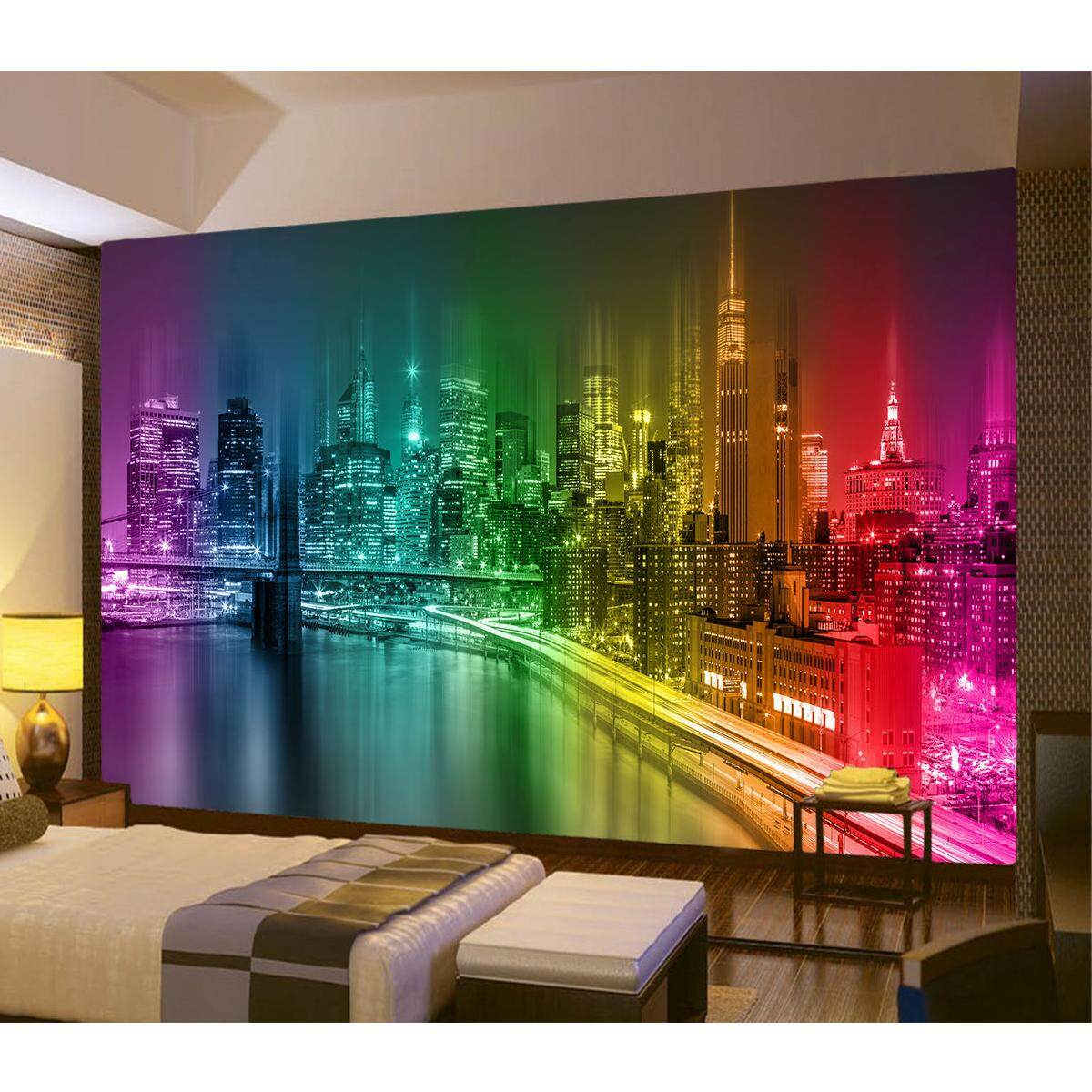 3D City Buildings Night Wallpaper Photo Wall Mural Modern Abstract Art Giant