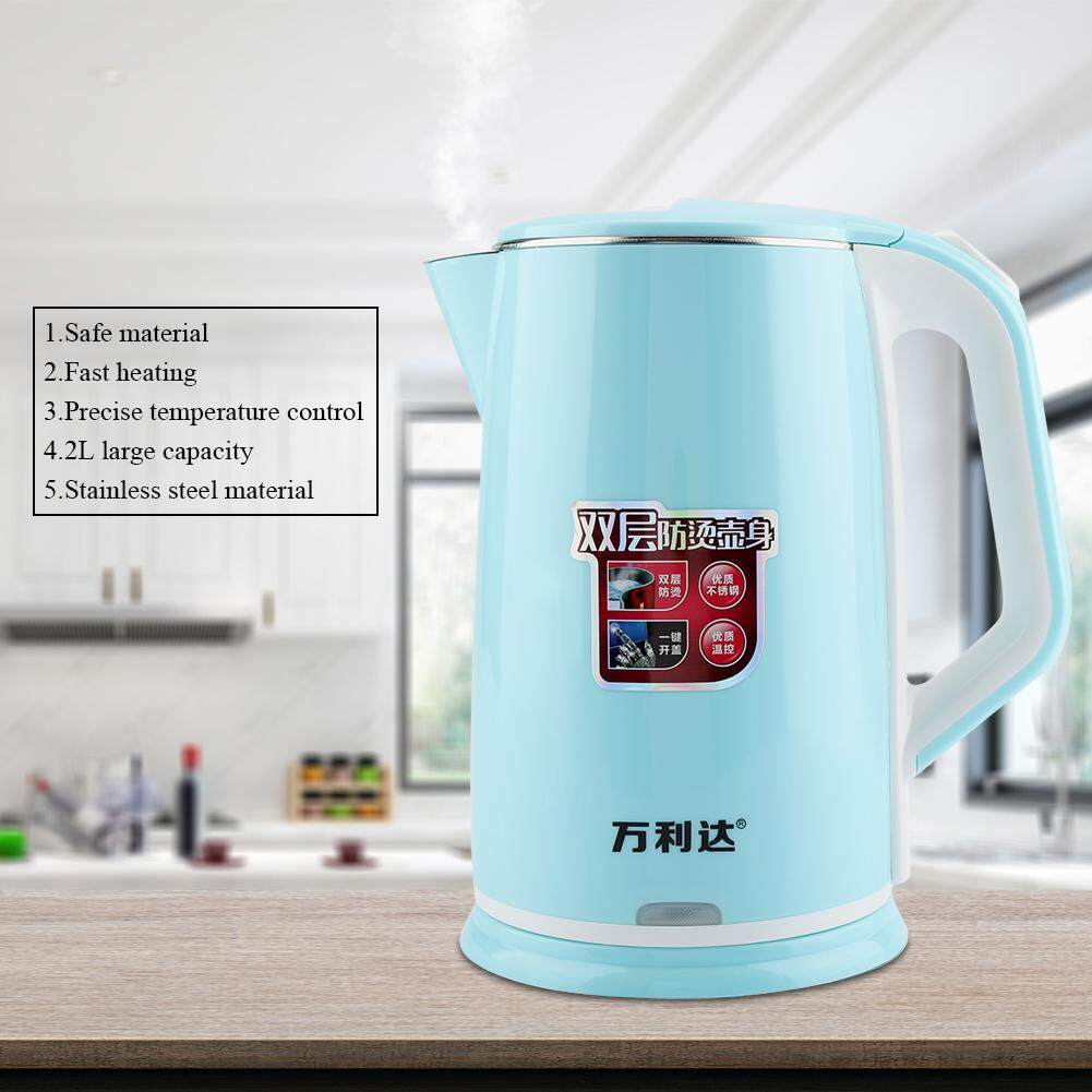 Electric kettle 2L Stainless Steel Electric Kettle Fast Water Heating Boiling Pot (Blue)