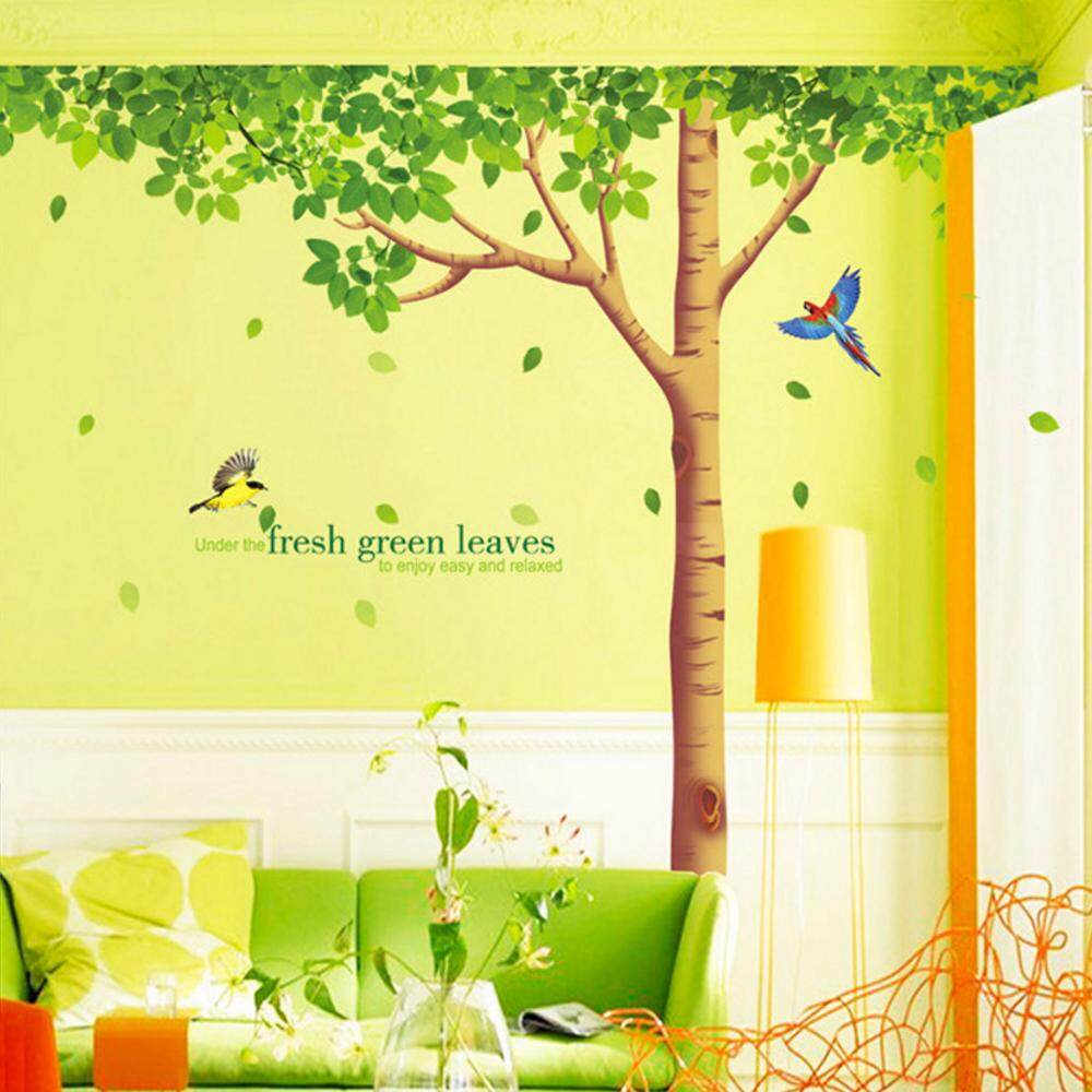Green Tree Birds PVC Wall Decals DIY Home Sticker WallPaper Vinyl Wall arts Pictures Removable Murals For House Decoration Baby Living Rooms Bedroom Toilet