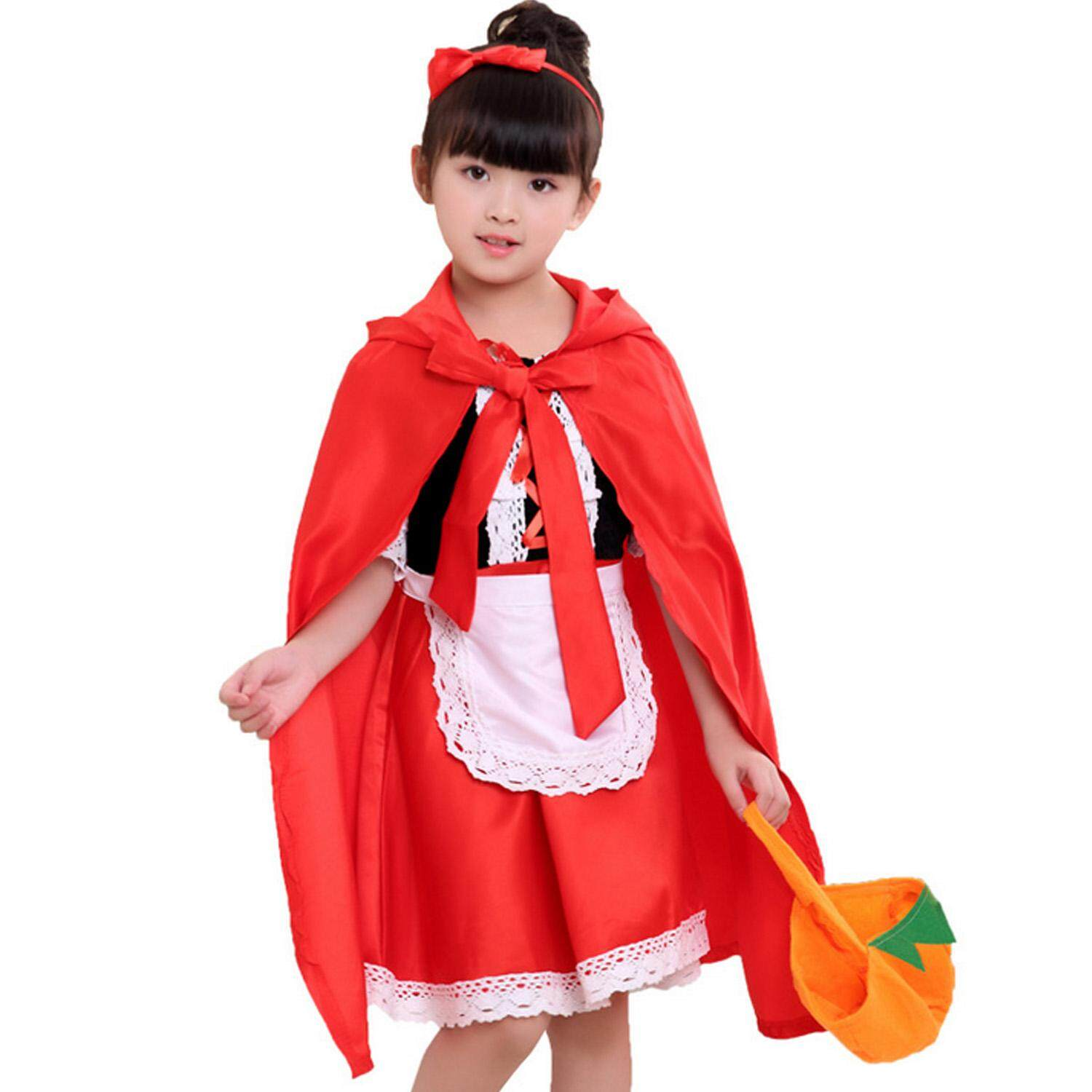Fantasy Girls Little Red Riding Hood Costume + Pumpkin Bag + Headband for Halloween Night Festival Cosplay Costume Party 90cm Maxi Party Dress