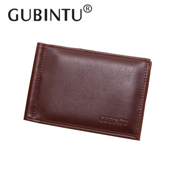 GUBINTU Luxury Business Man Money Clip Dollar Wallet Men Purse Leather Men with Metal Clamp Magnet Hasp Slim Designer Male Purse(Brown)
