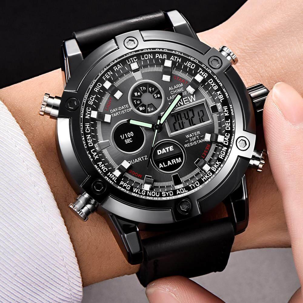 Image 5 for XINEW Luxury Dual Movt ผู้ชายหนัง Quarz Analog ดิจิตอล LED กีฬานาฬิกาข้อมือ