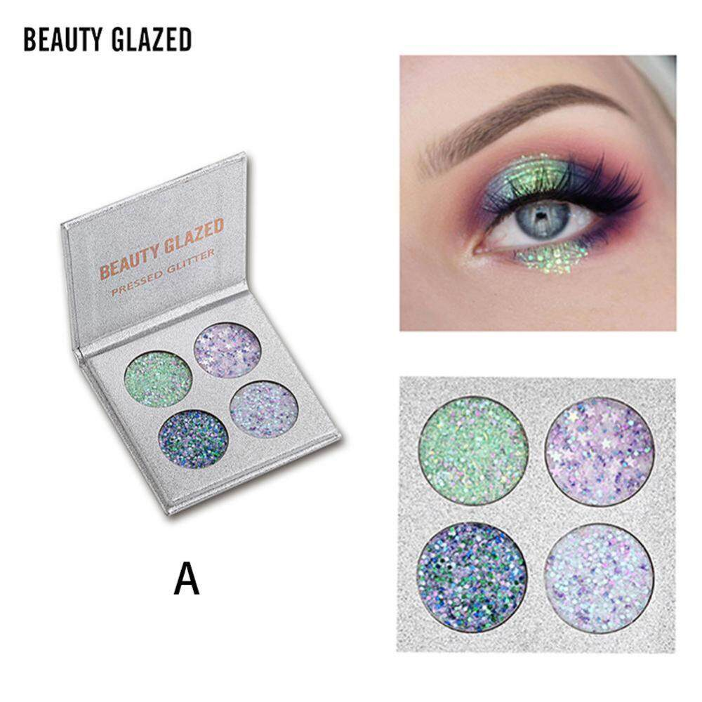 Beauty Glazed 4 Colors Diamond Sequins อายแชโดว์ Palette Natural Makeup Shadow - intl