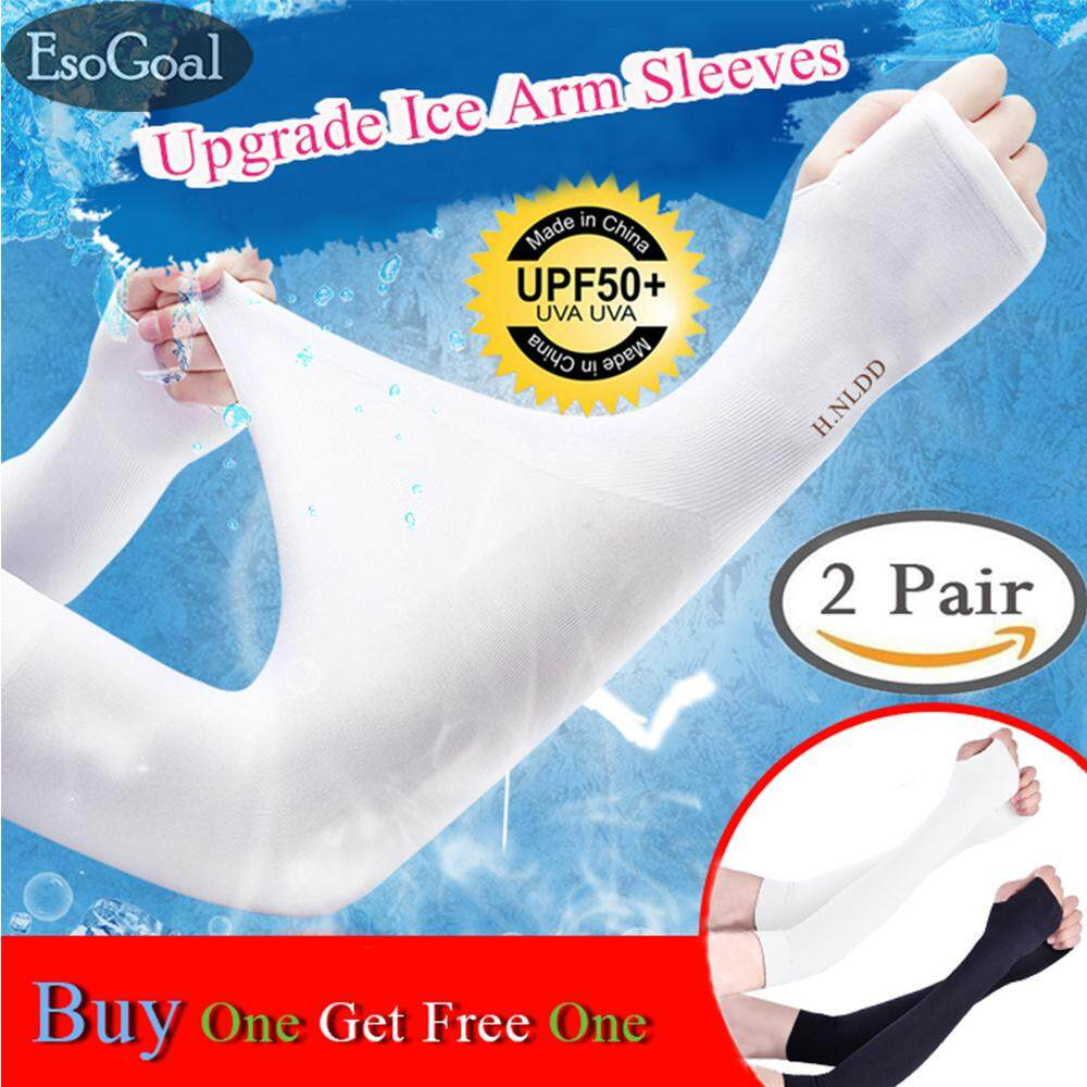 EsoGoal ปลอกแขนกันแดด Upgrade Arm Sleeves,2 Pairs Sports Cooling Arm Sleeves Unisex Sun Block UV Protection Cooler Protective Hands Arm Cover Long Sleeve for Cycling Driving Fishing ปลอกแขน-ขา