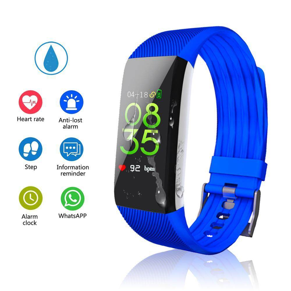 niceEshop Colorful Screen Fitness Tracker, Activity Tracker With Pedometer Blood Pressure Heart Rate Monitor IP67 Waterproof Step Calorie Distance Tracker Call SMS SNS Remind For Men Women Kids Android IPhone  สายรัดข้อมือเพื่อสุขภาพ อุปกรณ์ไอทีสวมใส่