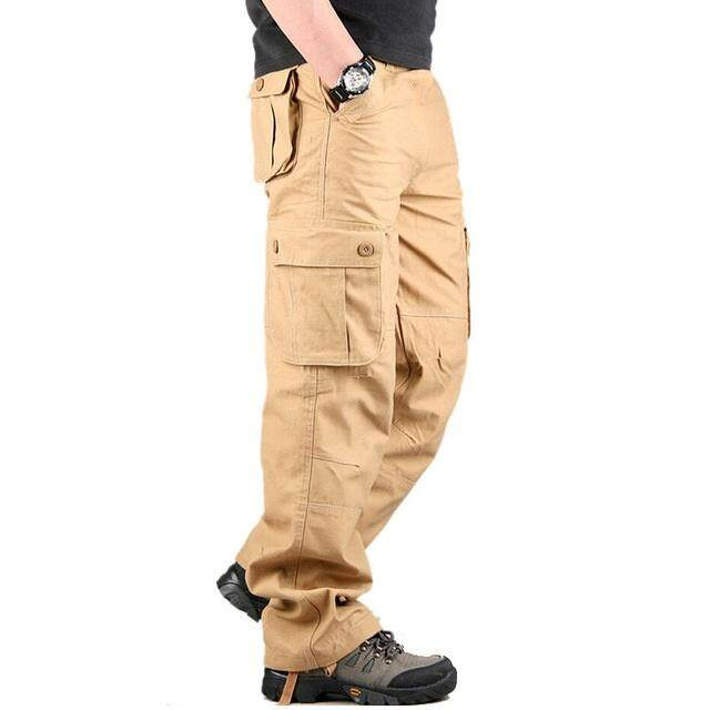 YUNY Mens Multicam Slim-Tapered Multi Pockets Loose Cargo Work Pants Army Green M