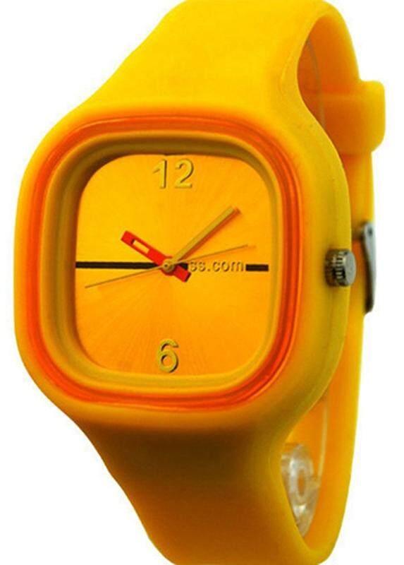 เยลลี่แบบยูนิเซ็กส์ซิลิโคนแฟชั่นนาฬิกาข้อมือควอตซ์สีเหลือง - INTL