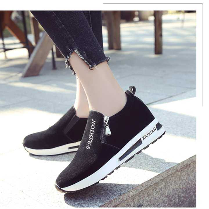 Thick bottom Carrefour zipper casual lazy single shoes slope with Carrefour bottom shoes - intl 156e01