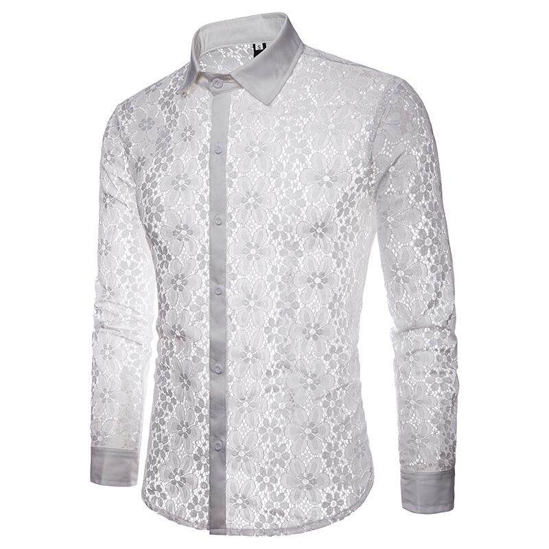 fe1946a80 Chfeirno Store Men Casual Fashion Hollow Lace Solid Color Lapel Long Sleeve  Shirt