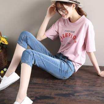 สุภาพสตรียีนส์กางเกง 7 ส่วนหญิงสำหรับฤดูร้อน 2018 เสื้อผ้าแฟชั่น ใหม่สไตล์เกาหลีแลดูผอมรัดรูป 7 กางเกงขาแปดส่วนไซส์พิเศษไซส์ใหญ่พิเศษแบบบางกางเกงสั้น-