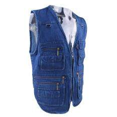 MagiDeal Mens Denim Leisure Outdoor Fishing Vest Photography Multi-pocket Jacket XL – intl