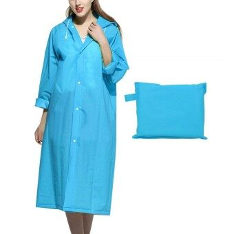 May_zz Long Large Bright Adult Water-Proof Poncho Hooded Raincoat Jacketunisex Style For Men Women Blue L