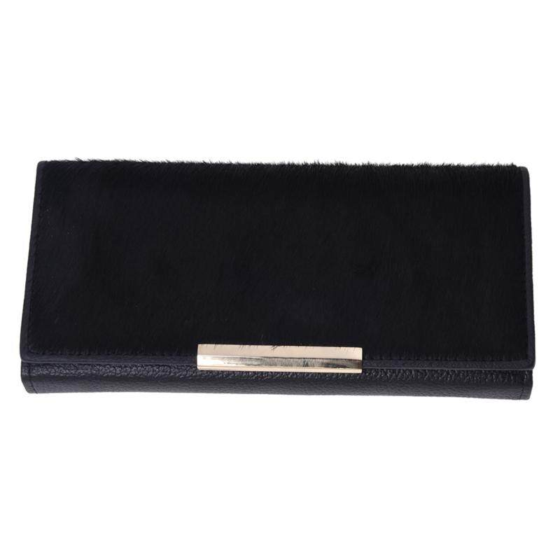 Wallet Women Wallet Genuine Leather Black Horse Fur SUN