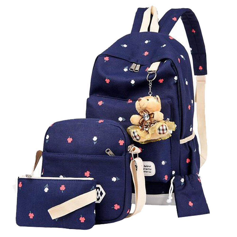 voovrof Girl's Casual Light-weight Canvas School Backpacks Bookbag Shoulder Bags for Back to Middle/High/College School,Outdoor Travel Bags(Blue)