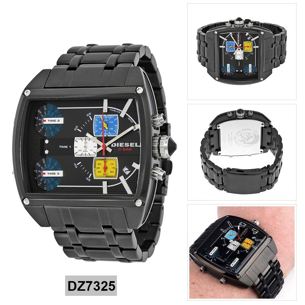 ยี่ห้อนี้ดีไหม  มุกดาหาร Authentic Diesel HOLIDAY 2014 Black Stainless-Steel Case Stainless-Steel Bracelet Mens DZ7325 2 Years Warranty
