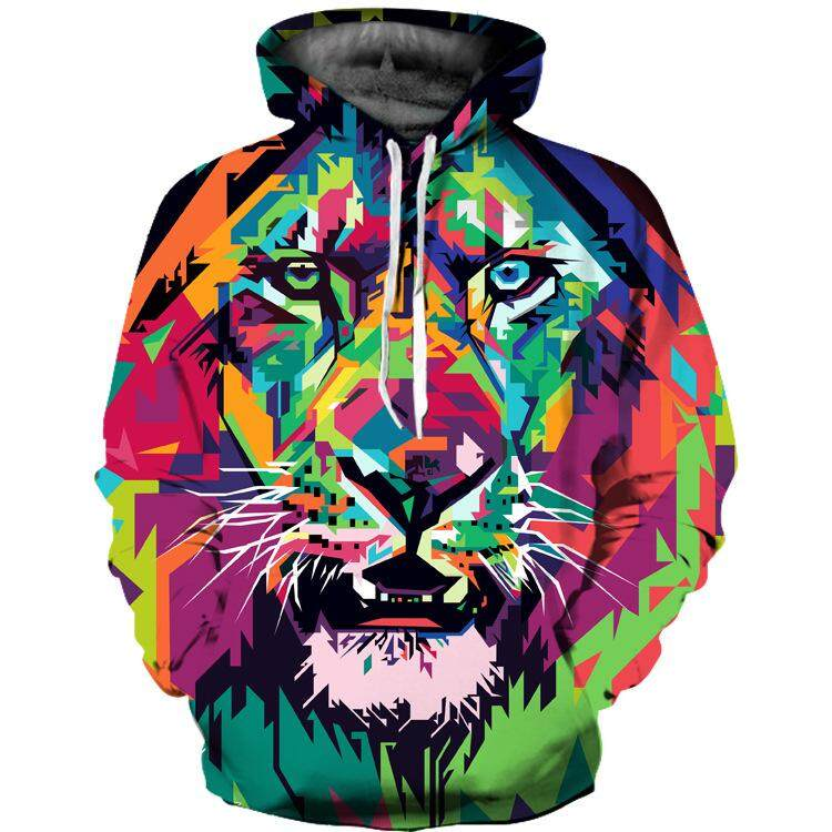 3D Colorful Lion Print Lovers' Hoodie Coat