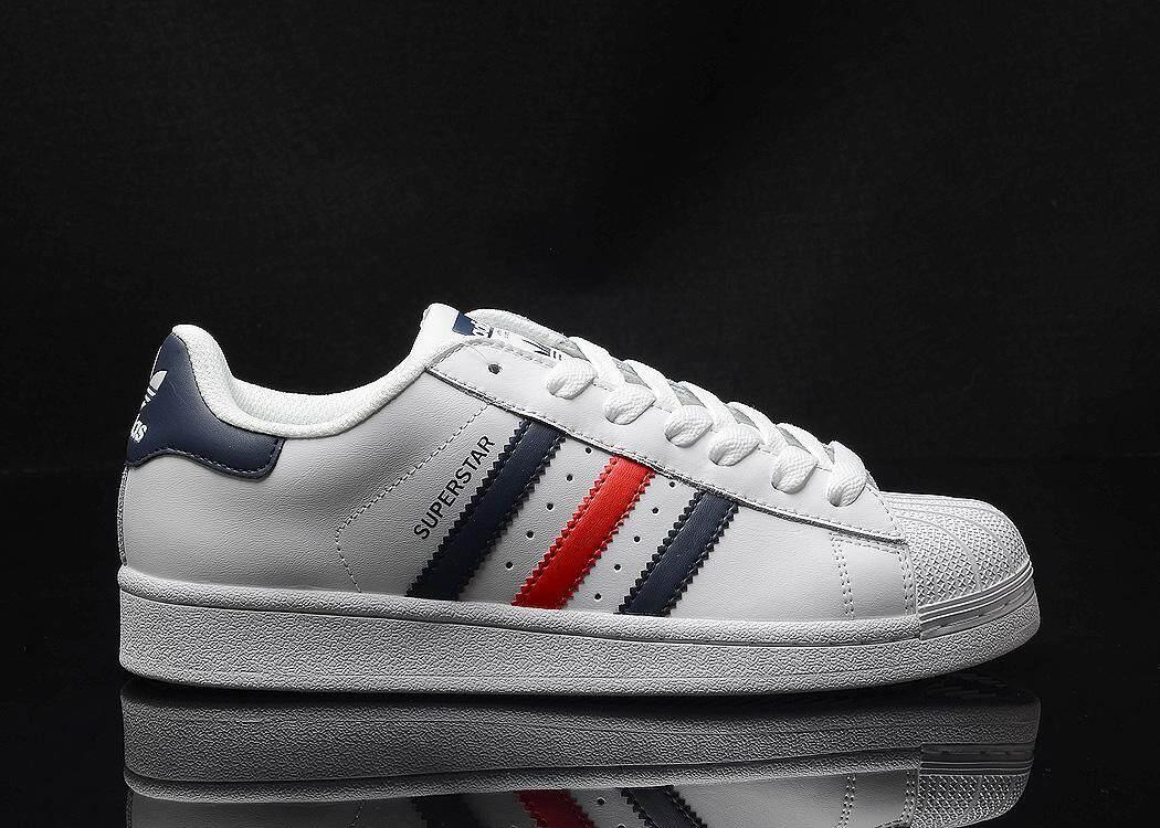 Adidas Originals SuperStar Men s Comfortable Running Shoe Fashion Casual  Skater Sneakers (White Blue) 6637160292