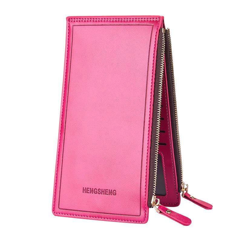 HENGSHENG Fashion Oil Wax PU Leather Credit Card Women Wallet Long Card Holder with zipper cion pocket  for Ladys Purse HS1039-3