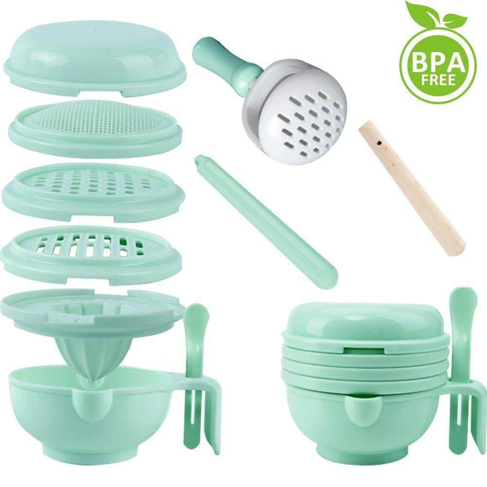 9 in 1 Food Masher Maker Portable Baby Feeder Food Processor Smasher Serve Bowl Vegetables Fruit Ricer Grinder - intl image on snachetto.com