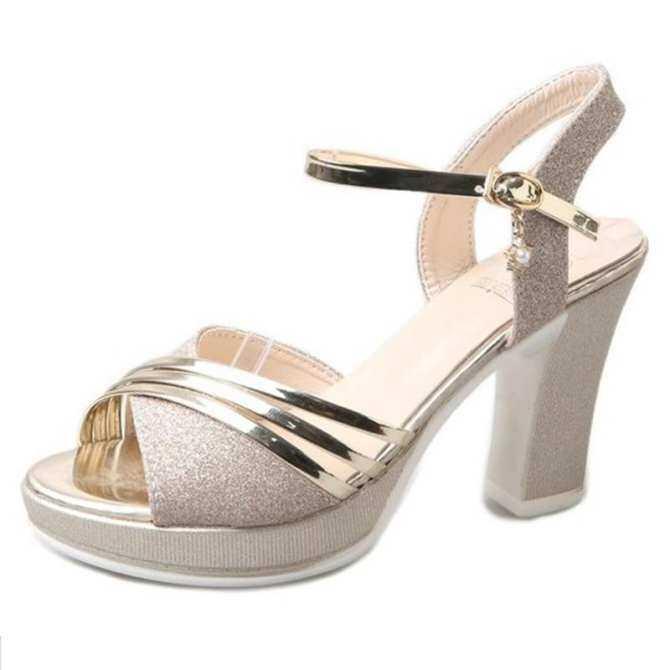 d6b4f4cfb53801 Platform Sandals Women Fashion 2018 Women Summer Shoes Gold Silver Extreme  High Heel Women Sandals 10