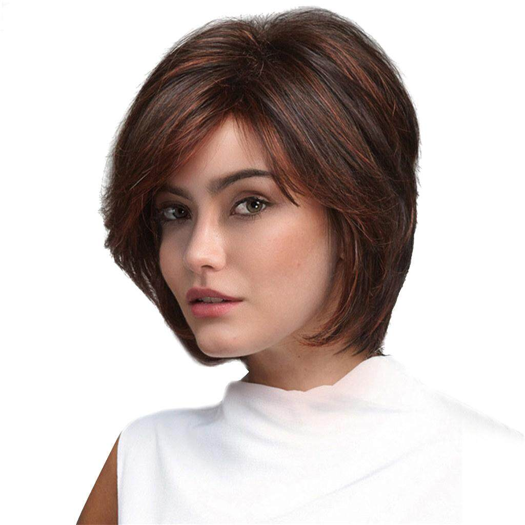 MagiDeal Elegant Women Girls Short Natural Looking Layered Synthetic Hair Wigs With Cap Dark Brown Face Frame Style Costume Party Daily Wear Use