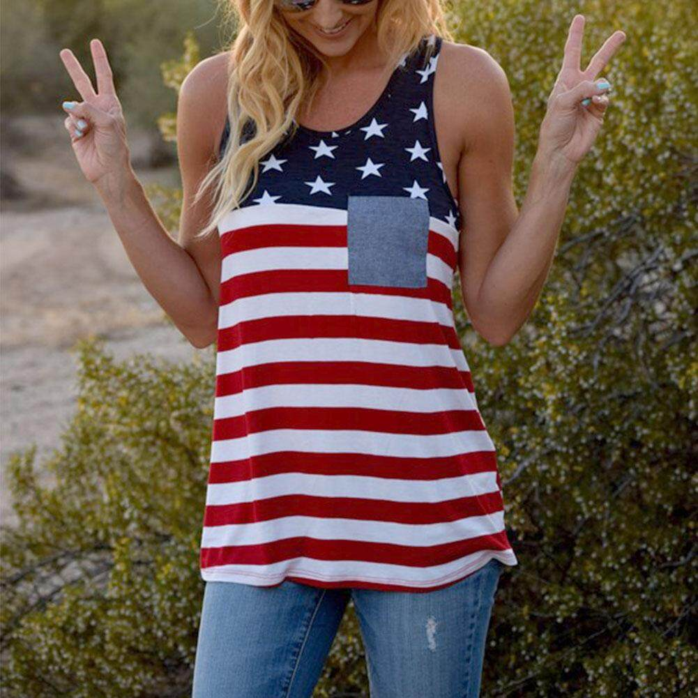 Fashion Women USA American Flag Stars Stripes Sleeveless Tank Top Vest Blouse