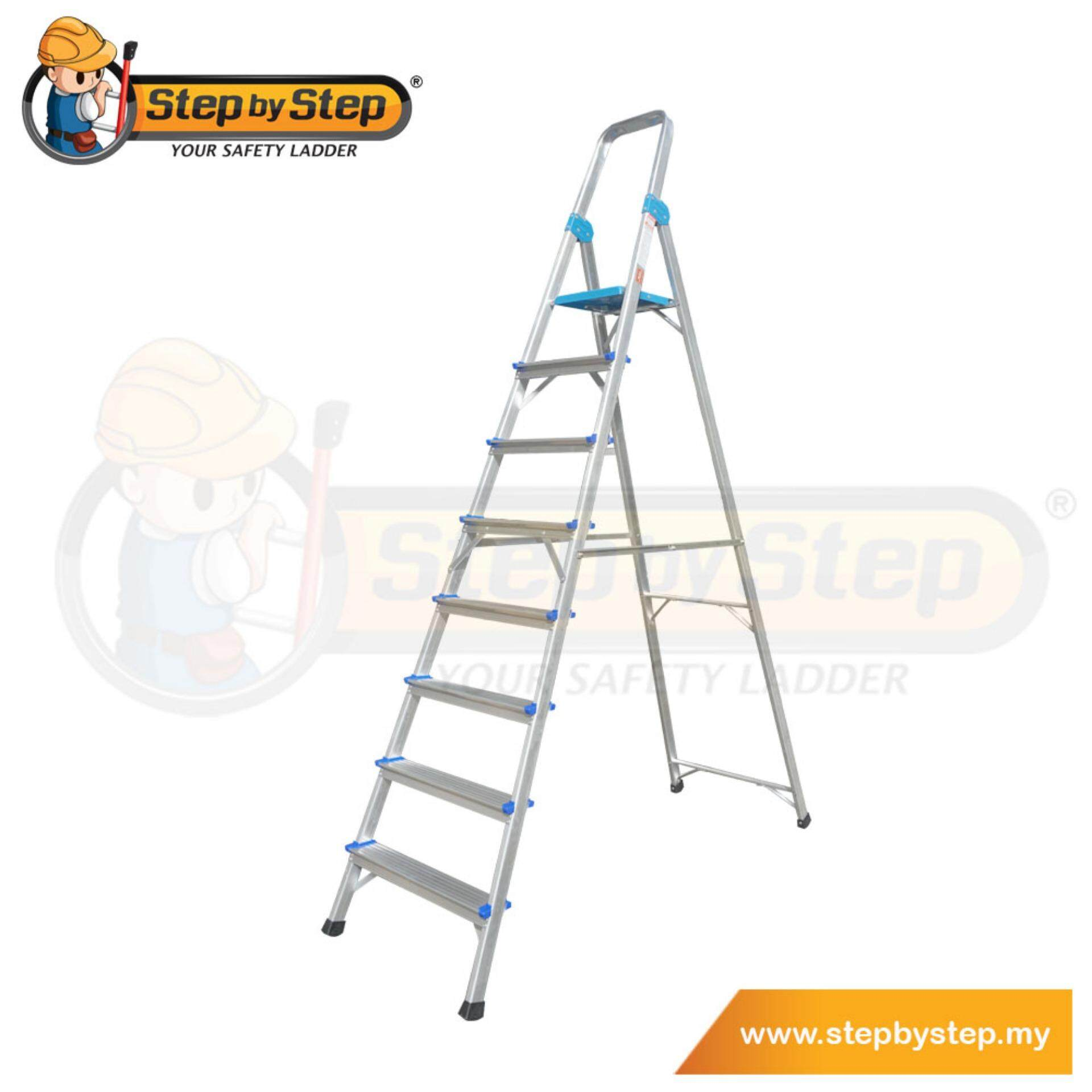 Step by Step Aluminium Queen Ladder with Handrail (QL08) - 8 Steps