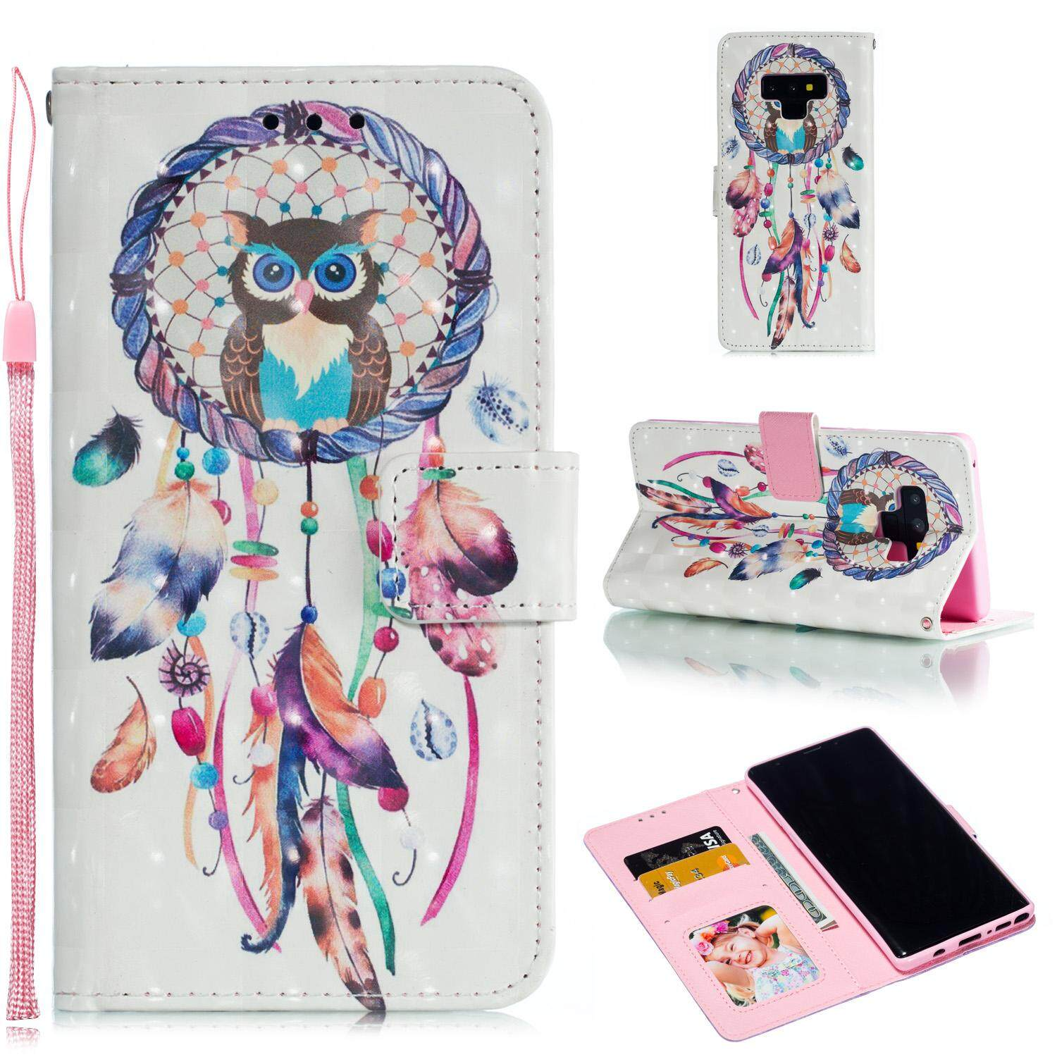 9218a0f5aee Product details of For Samsung NOTE 9 3D Coloured Painted Leather  Protective Phone Case with Button & Card Position & Lanyard Style:Samsung  NOTE 9